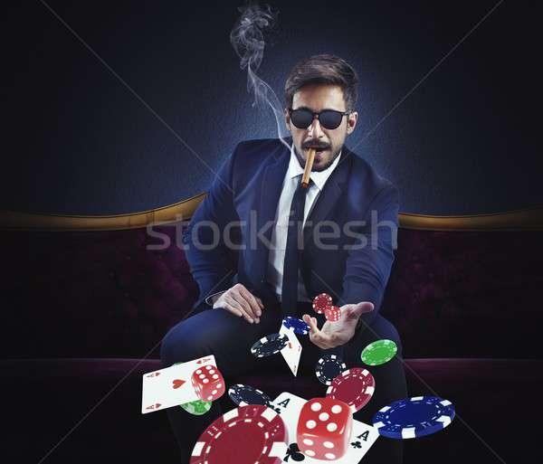 Zengin kumarbaz kartları zarlar cips adam Stok fotoğraf © alphaspirit