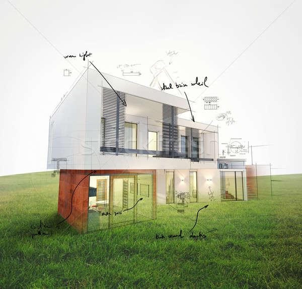 Foto stock: Casa · proyecto · césped · 3D · casa