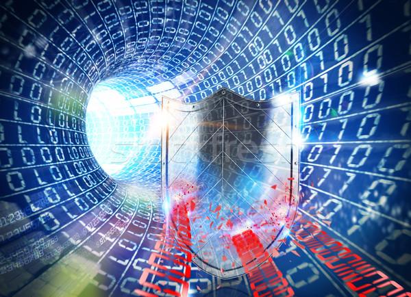 3D renderelt kép tűzfal internet kék alagút Stock fotó © alphaspirit
