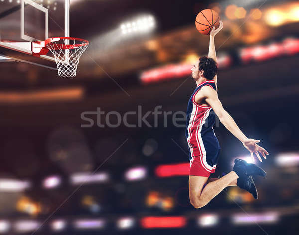 Cesta jogador estádio bola completo esportes Foto stock © alphaspirit