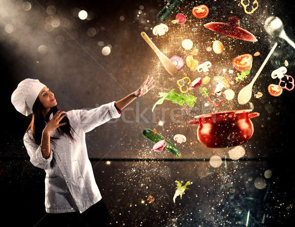 Magic chef ready to cook a new dish Stock photo © alphaspirit