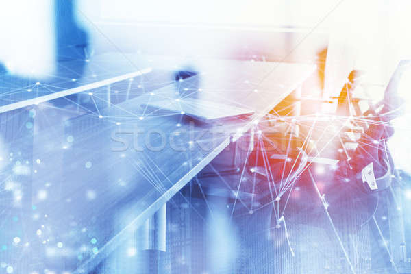 Abstract business background with meeting room and internet network effect. Double exposure Stock photo © alphaspirit