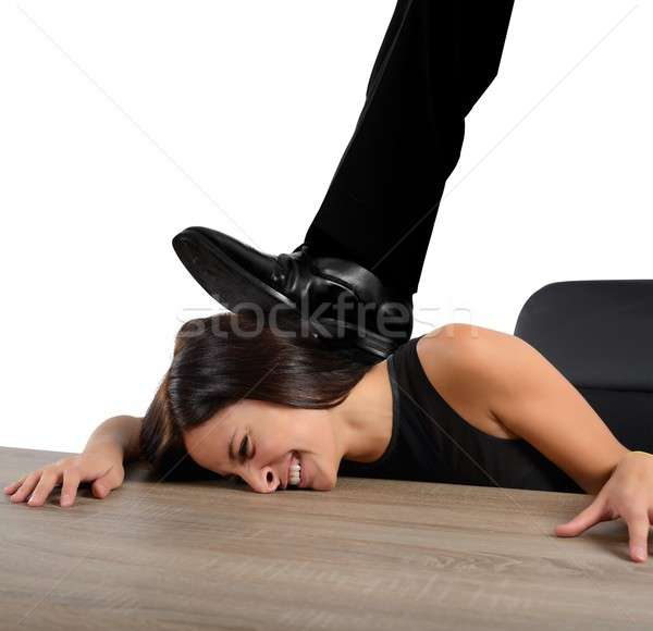 Wreed baas vrouw kantoor man werk Stockfoto © alphaspirit