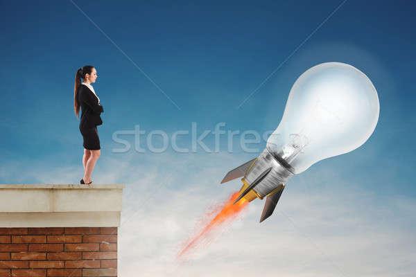 Stock fotó: Gyors · villanykörte · rakéta · kész · légy · új