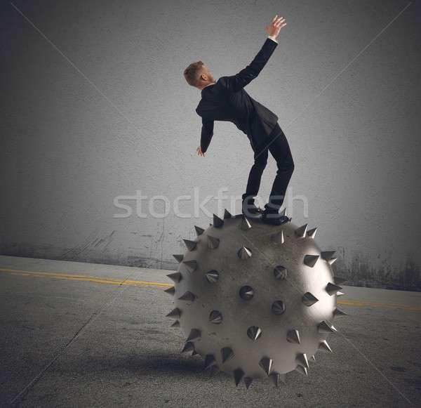Miedo negocios caer fracaso empresario pelota Foto stock © alphaspirit