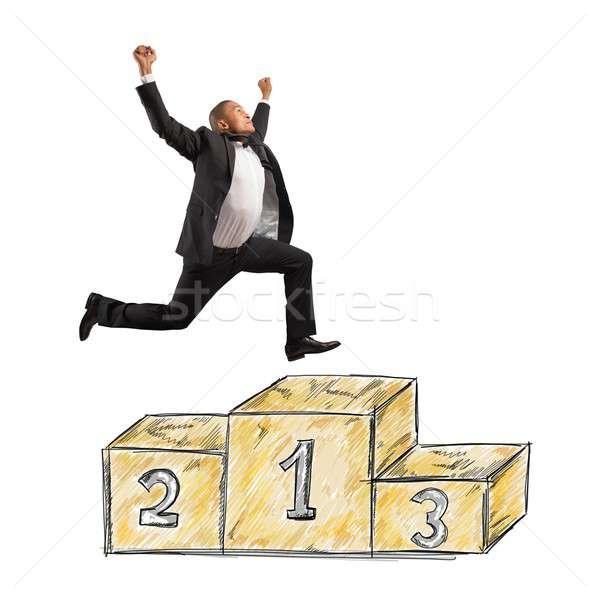 Перейти подиум бизнесмен прыжки работу запустить Сток-фото © alphaspirit