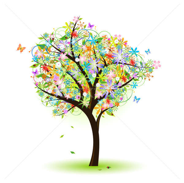 Colorat Copac Floare Fluture Gărgăriţă Primăvară