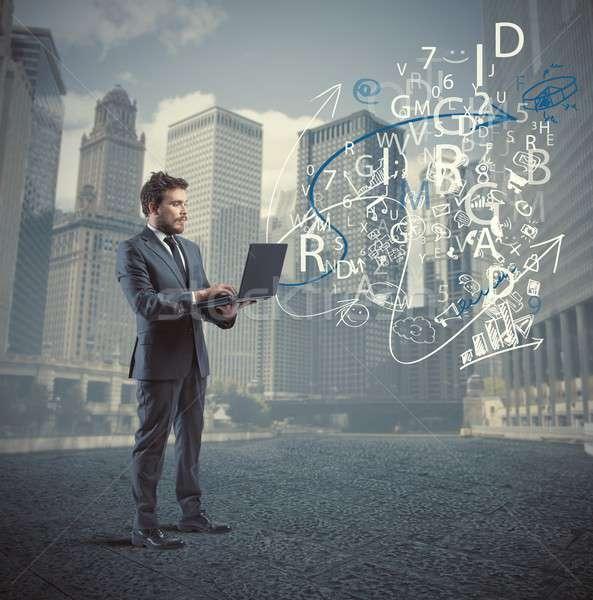 Businessman and internet concept Stock photo © alphaspirit