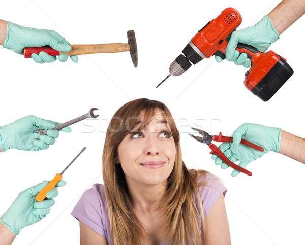стоматолога Scary Crazy инструменты испуганный девушки Сток-фото © alphaspirit