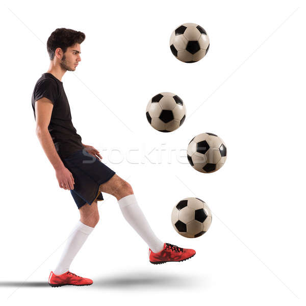 Voetballer tiener voetballer vier Stockfoto © alphaspirit