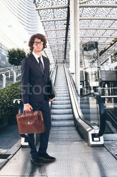 Business vita imprenditore scala mobile moderno ufficio Foto d'archivio © alphaspirit