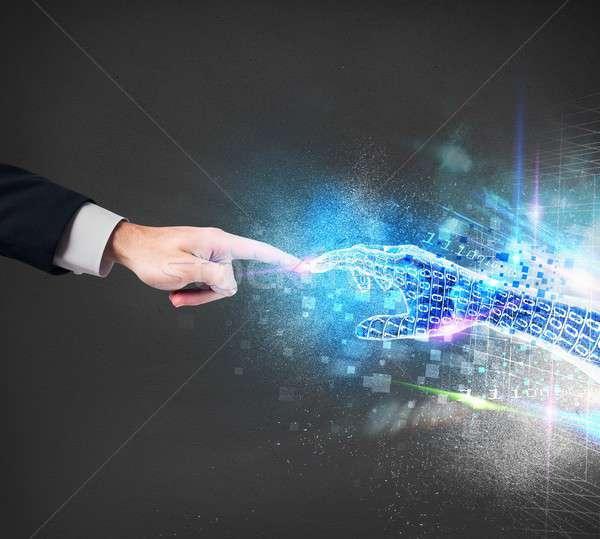 Sanal bağlantı insan dünya el ışık Stok fotoğraf © alphaspirit