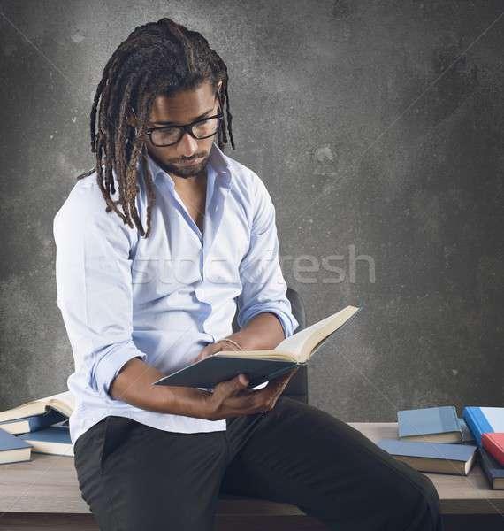 Tanár érdekes könyvek osztály papír könyv Stock fotó © alphaspirit