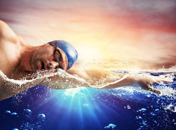 Garçon bleu profonde eau homme sport Photo stock © alphaspirit