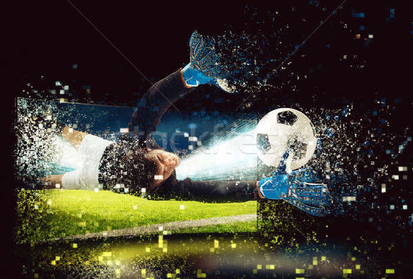 Pixelated image of a goalkeeper who try to catch the ball Stock photo © alphaspirit