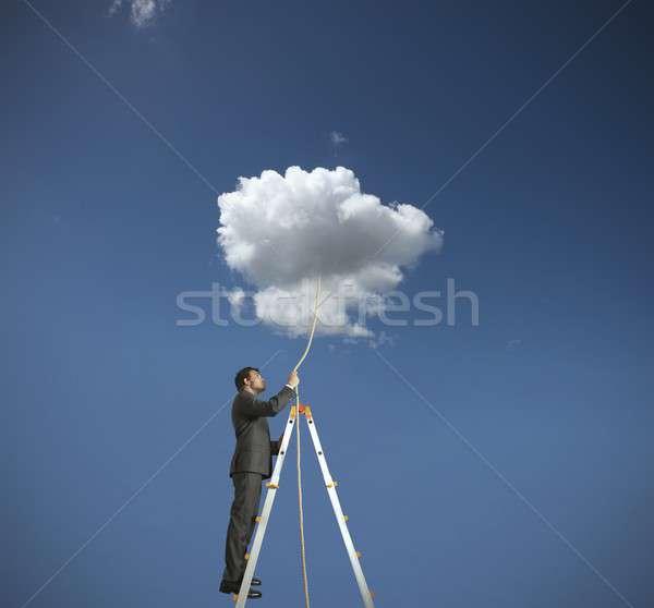 Rêve homme travaux nature bleu travailleur Photo stock © alphaspirit