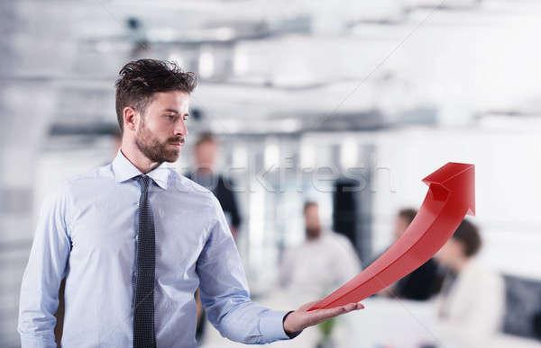 Biznesmen rozwój statystyczny firmy czerwony strony Zdjęcia stock © alphaspirit
