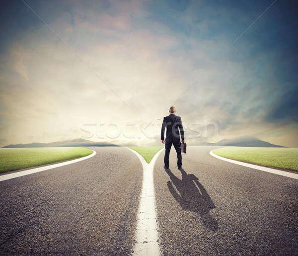 üzletember kiválasztott helyes út siker férfi Stock fotó © alphaspirit