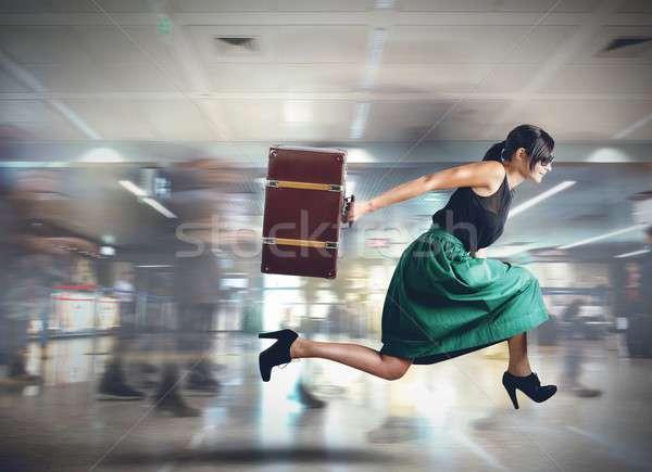 Late woman tourist Stock photo © alphaspirit