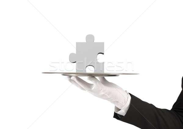 Manquant solution main bâtiment homme aider Photo stock © alphaspirit