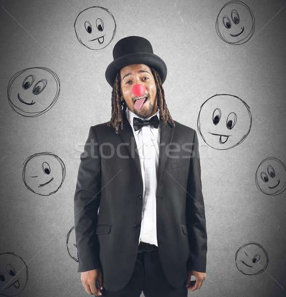 Clown homme chapeau nez affaires fête Photo stock © alphaspirit