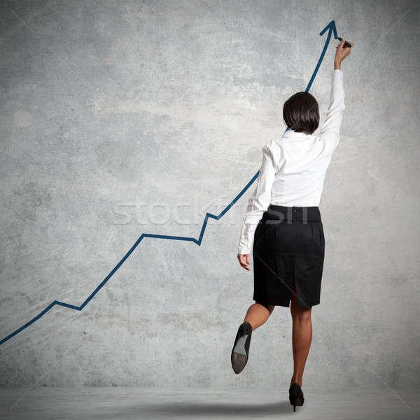 Statistiche imprenditrice disegno muro business mano Foto d'archivio © alphaspirit