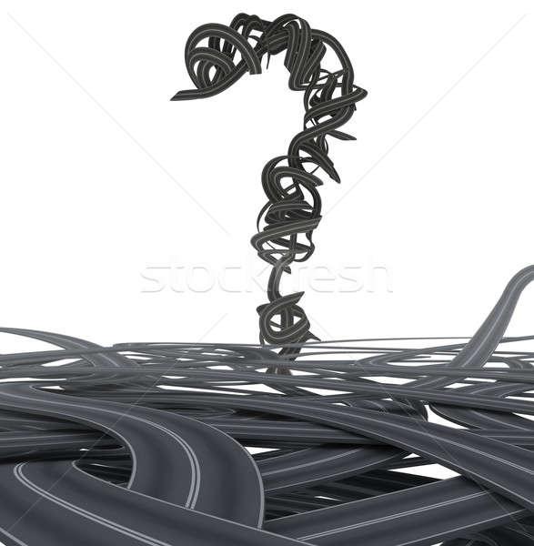 3D asphalte interrogation beaucoup route Photo stock © alphaspirit