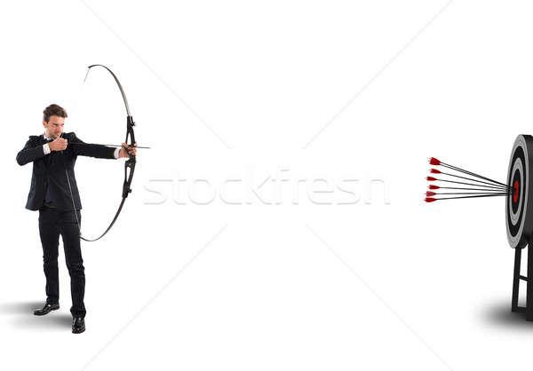 целевой бизнесмен лук Стрелки человека власти Сток-фото © alphaspirit
