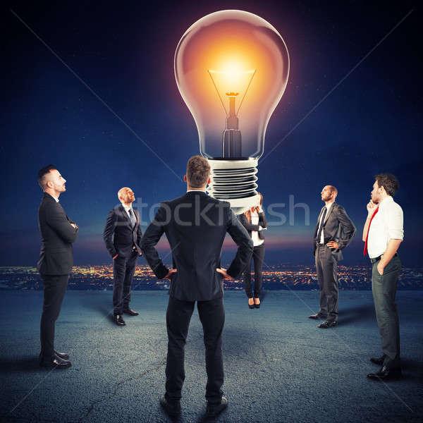 Team idee horloge groot gloeilamp Stockfoto © alphaspirit