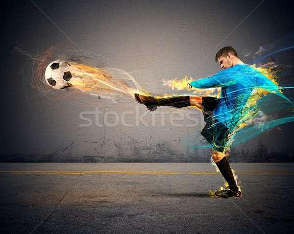 Piłka nożna ognia fireballs sportu streszczenie Zdjęcia stock © alphaspirit
