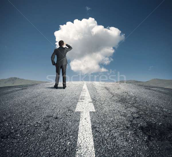 Businessman follows the right way Stock photo © alphaspirit