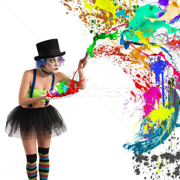 Painter clown Stock photo © alphaspirit