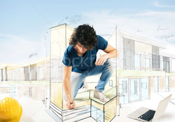 Drawing a house project Stock photo © alphaspirit