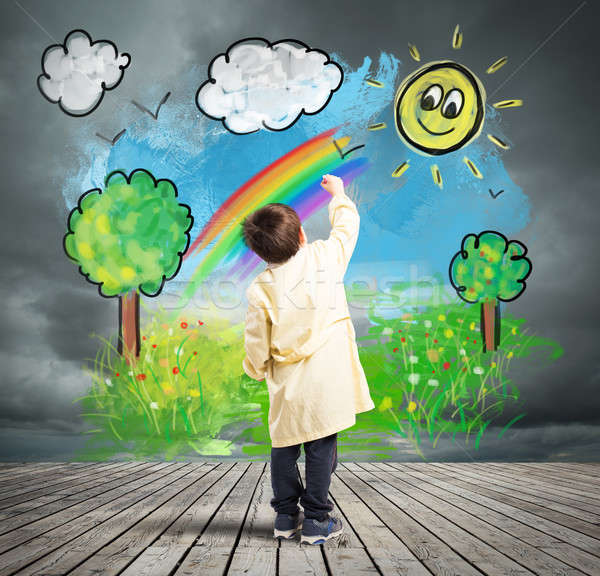 Concept how to change a gray day with colored day Stock photo © alphaspirit
