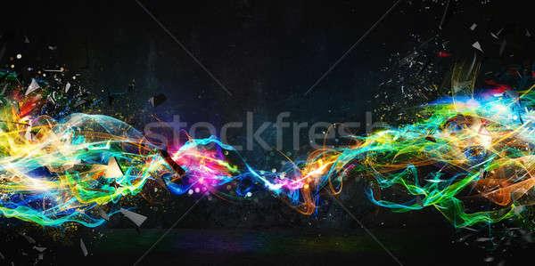 Modern abstract motion banner on dark background Stock photo © alphaspirit