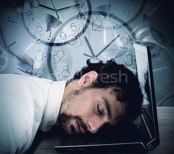 Сток-фото: бизнесмен · устал · спальный · ноутбука · бизнеса · компьютер