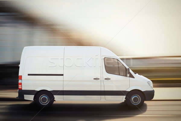 Truck on a city road . 3D Rendering Stock photo © alphaspirit