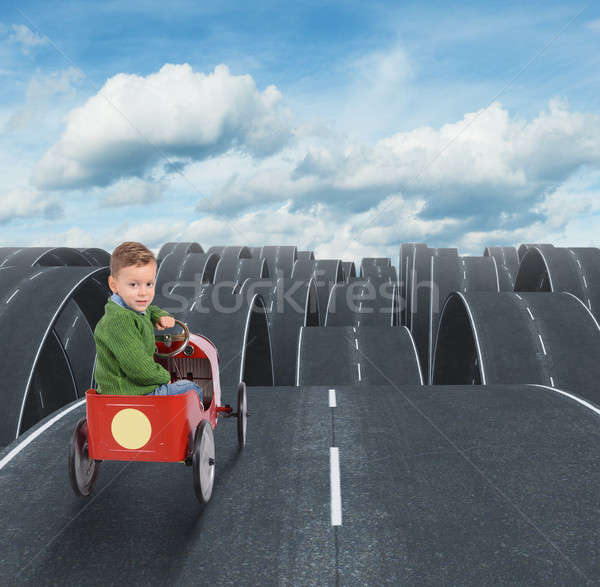 Difficult future of a kid with disjointed streets Stock photo © alphaspirit