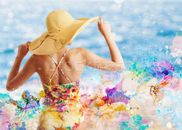 Nina traje de baño Splash colorido efecto playa Foto stock © alphaspirit