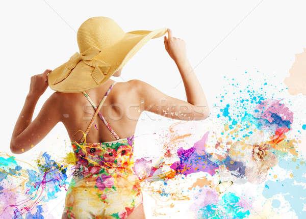 девушки купальник всплеск красочный эффект пляж Сток-фото © alphaspirit
