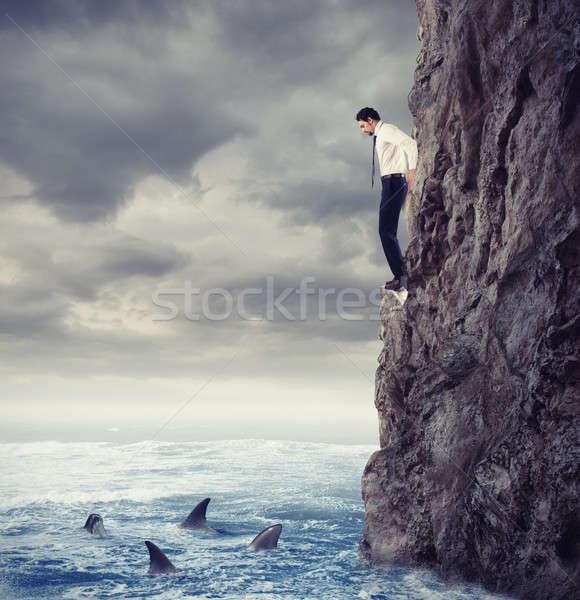 Empresario caída mar tiburón dificultades profundo Foto stock © alphaspirit