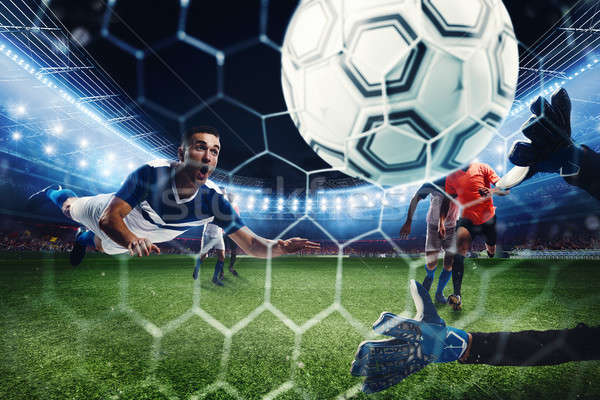 Football scene with competing football players at the stadium. 3D Rendering Stock photo © alphaspirit