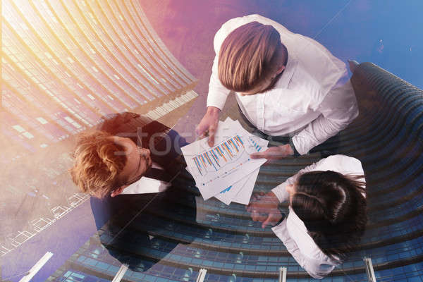 üzletemberek statisztika szám cég dupla kitettség Stock fotó © alphaspirit