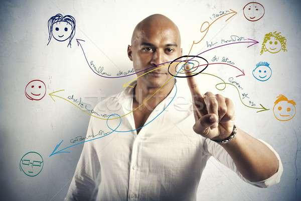 Red social dibujos personas negocios cara hombre Foto stock © alphaspirit