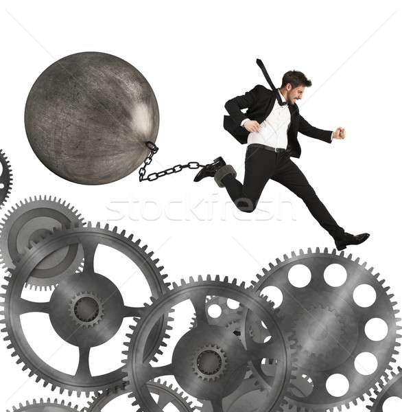 Businessman career with impediment Stock photo © alphaspirit