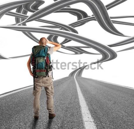 探險者 許多 道路 男子 筆記本電腦 街頭 商業照片 © alphaspirit