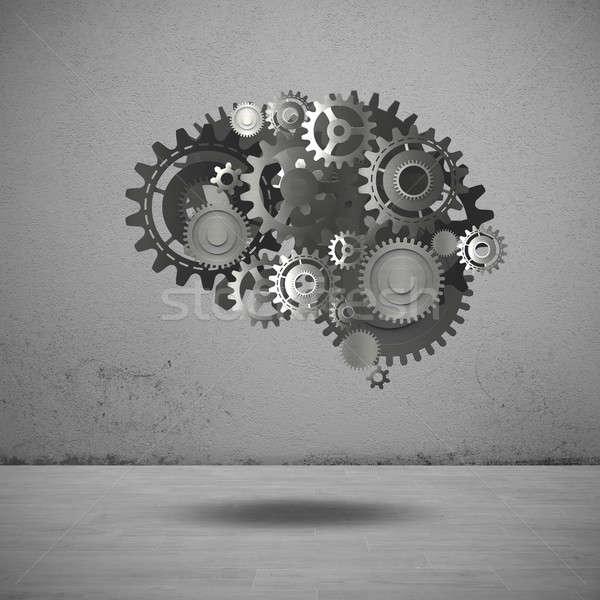 Gears mechanism brain 3D Rendering Stock photo © alphaspirit