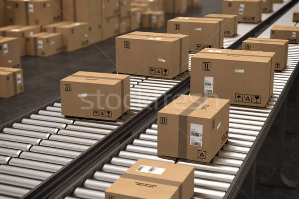 Boxes on conveyor roller. 3D Rendering Stock photo © alphaspirit