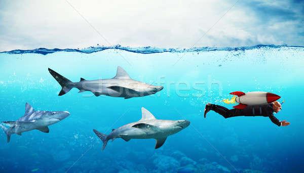 Verseny üzletember cápák rakéta óceán munkás Stock fotó © alphaspirit