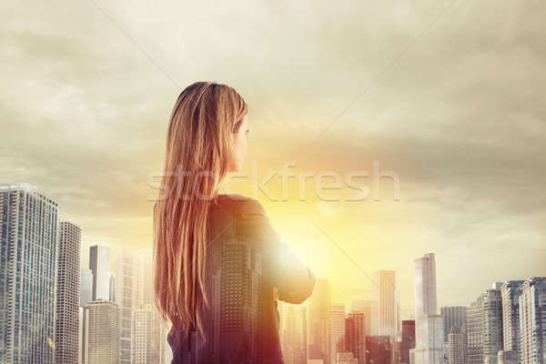 Businesswoman looks far for the future Stock photo © alphaspirit